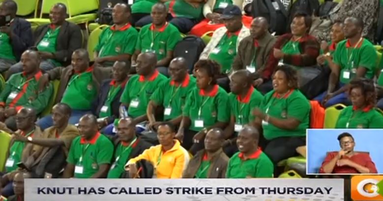 KNUT has called strike from Thursday. Conciliation talks set for tomorrow. Team to meet TSC officials. KNUT has pulled out of talks #SundayLive