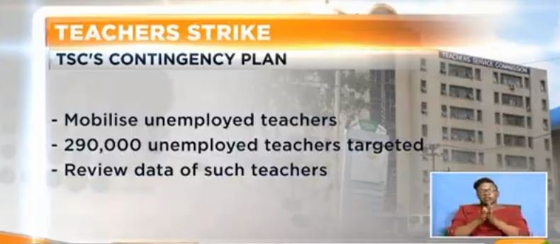 TSC seeks temporary teachers. New hirings to ease effects of strike. 290,000 unemployed teachers targeted #SundayLive