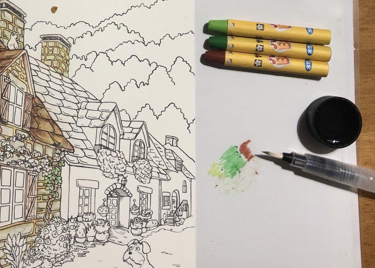 ドリス On Twitter セリアの塗り絵を子供向け落書き用クレヨンで水彩