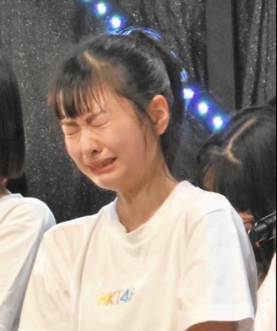 HKT48の松岡はなさん。 泣いてる顔が「男梅」と「がんもどき」に似てると言われたらしい。。 愛おしすぎる。。