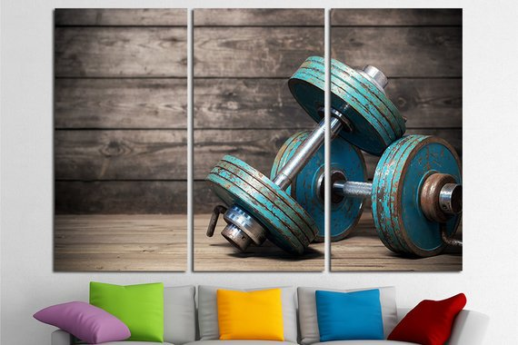 Pieces hd printed posters crossfit gym paintings gym room decor
