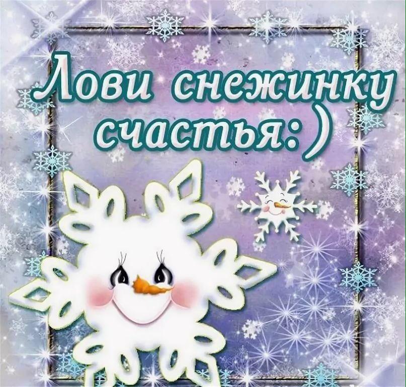 Поймай снежок открытка