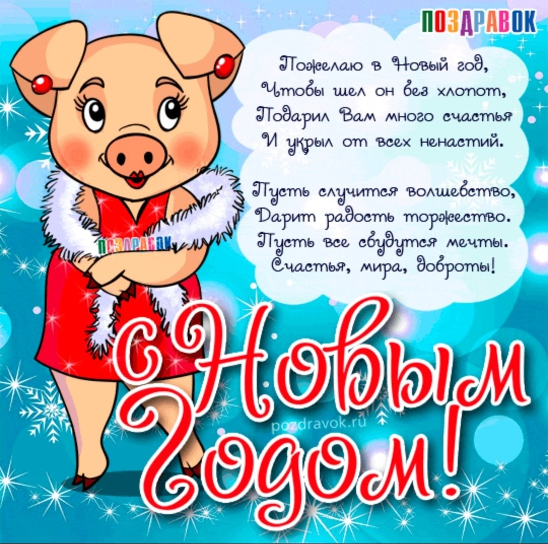 Открытки с свинками с новым годом