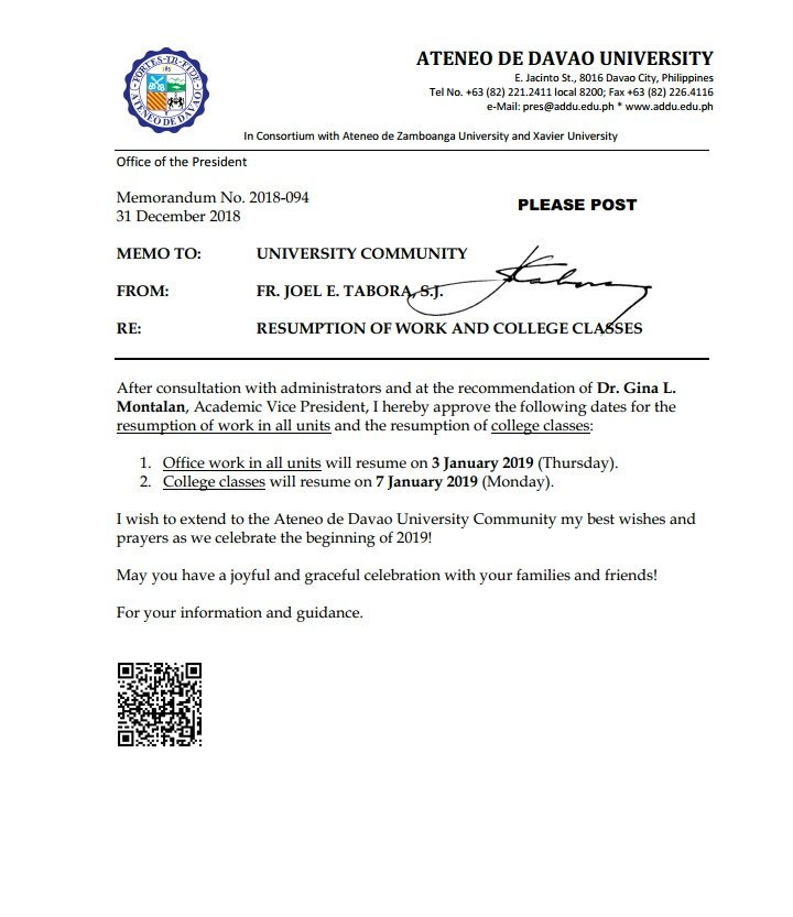 ATTN   Memo from Fr. @Joeltaborasj Re: Resumption of Work and College Classes
