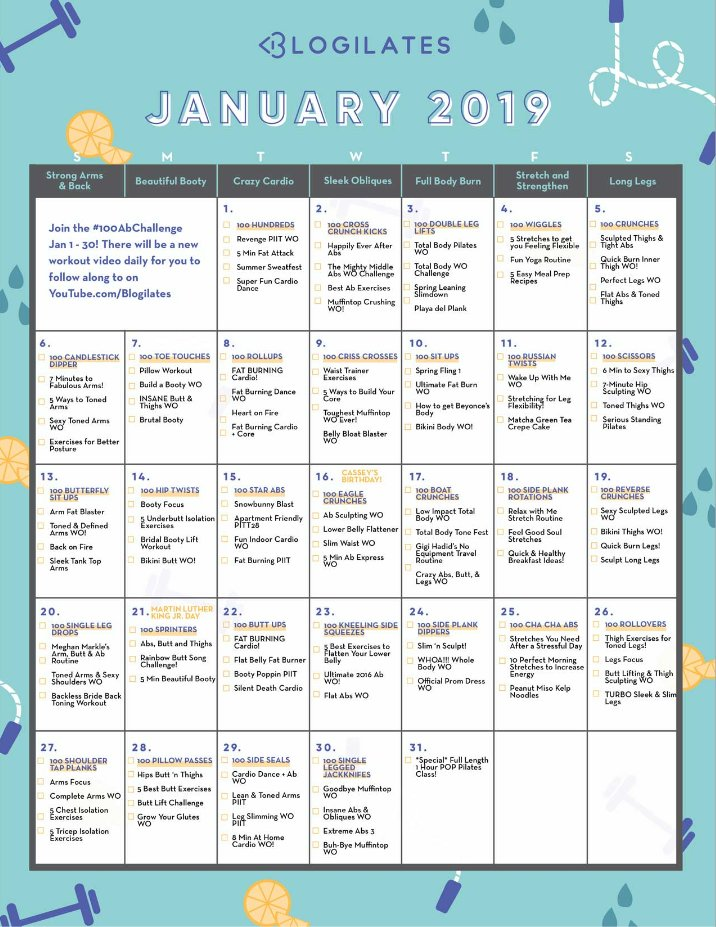 Cassey Ho On Twitter You January 2019 Workout Calendar Is