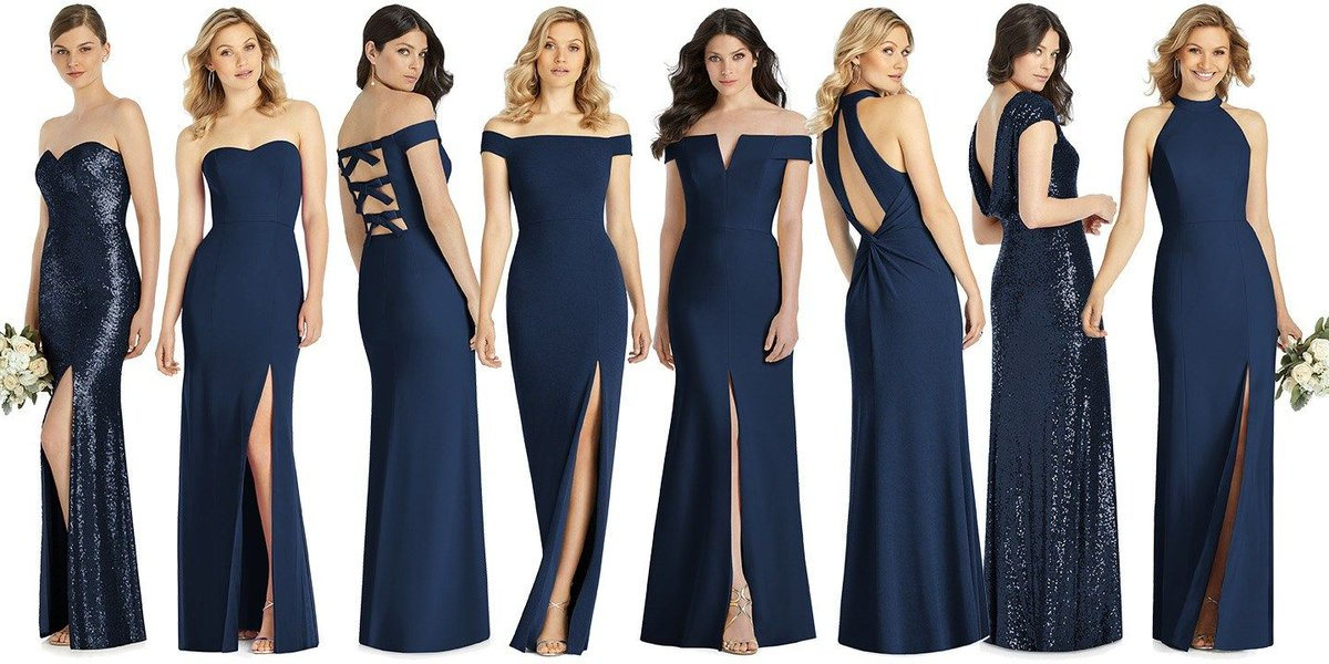 ed8a57e51f9 Our Spring 2019 bridesmaid dresses look marvellous in Midnight Blue! From  left: styles 3037