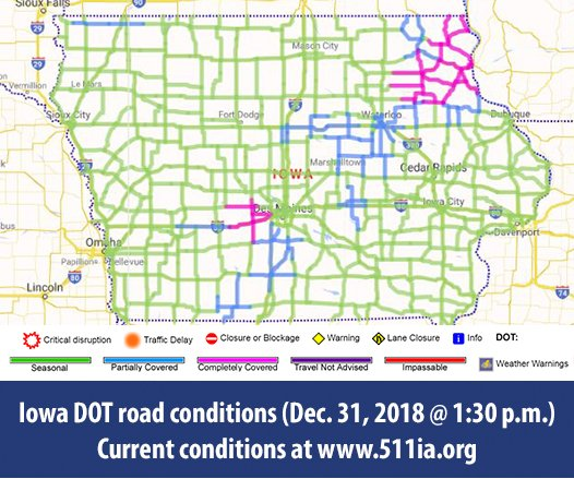 Iowa Dot On Twitter Here S The Updated Road Condition Map As Of