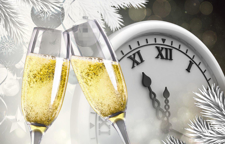 Открытки с новым годом бокал шампанского
