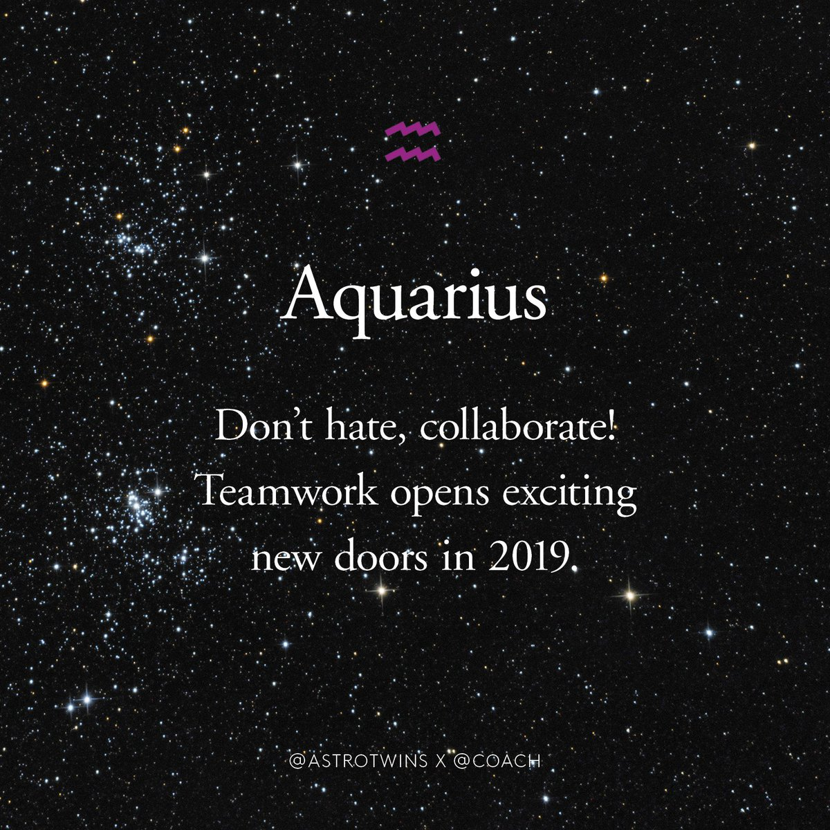 Aquarius, read your full 2019 horoscope by the @astrotwins and shop your sign: https://t.co/zHTmd9gn6x #CoachNY
