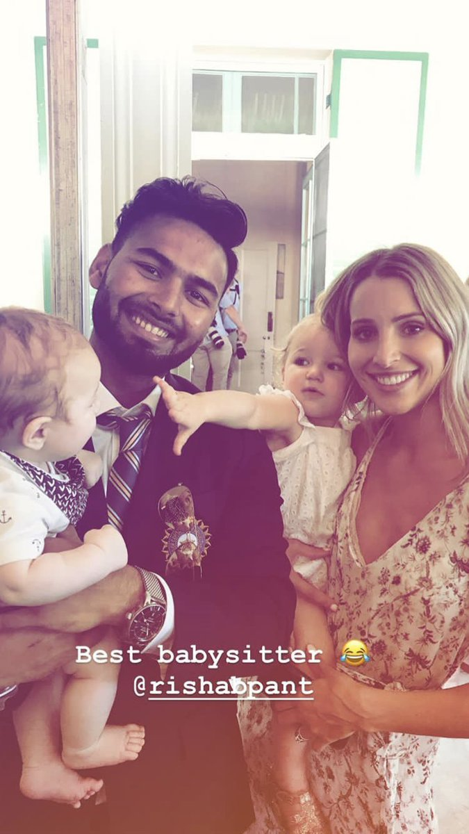 Tim Paine to @RishabPant777 at Boxing Day Test: 'You babysit? I'll take the wife to the movies one night, you'll look after the kids?'  *Challenge accepted!* 👶  (📸 Mrs Bonnie Paine)
