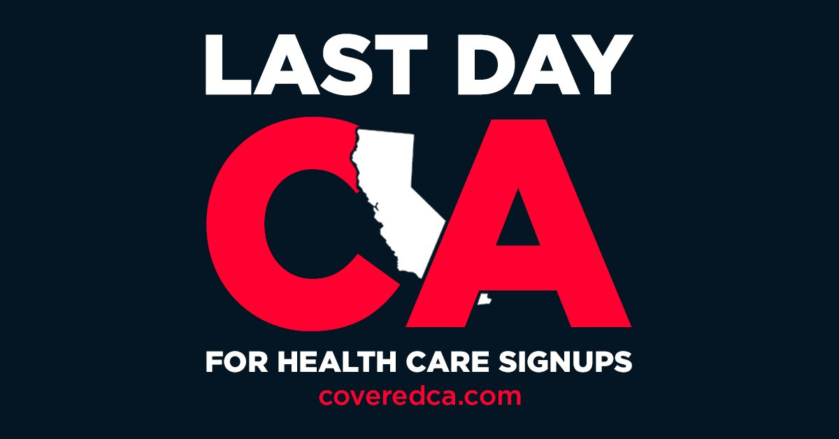 If you live in California, today is the LAST day you can enroll for health care at https://t.co/ulGnArohz1. Spread the word.