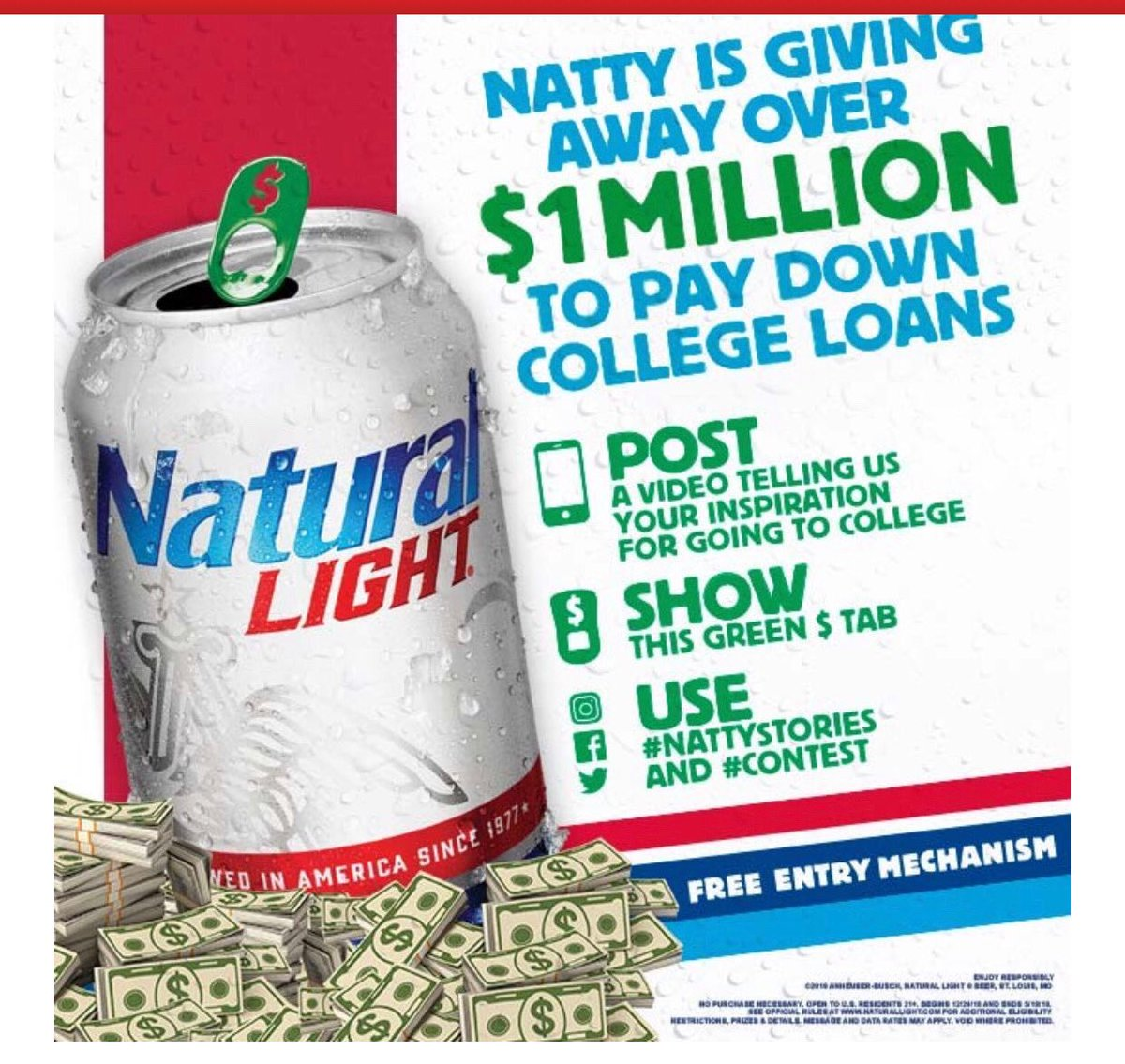 Natty Light giving away $1M to do its part to help pay down college loans. 12 winners will get $40,000, 58 winners get $10,000 each.