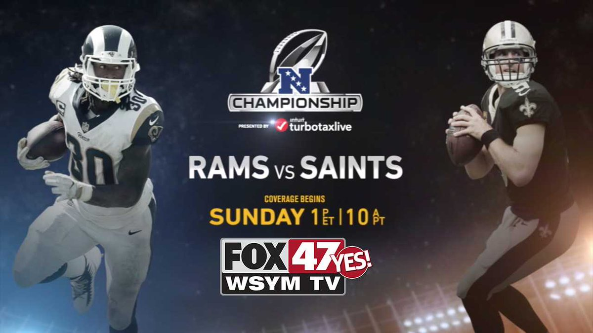 It's the NFC Championship! Sunday on @FOX47News . Todd Gurley and the Los Angeles Rams travel to New Orleans take on @drewbrees and the New Orleans @Saints . The winner moves on to the @SuperBowl  Who are you rooting for?  Coverage begins at 1p Sunday on FOX 47