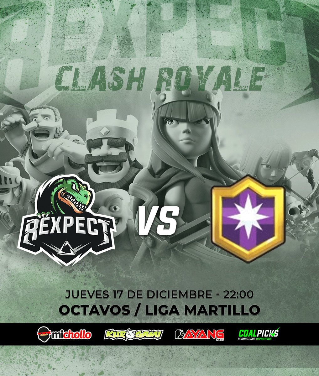 [ #ClashRoyale ]  ⭐️ Octavos de final 🏆 LIGA MARTILLO 🆚 @EsportsBoom  Mucha suerte chicos!!  #RoarWithUs 🦖 https://t.co/jmk536nVOZ