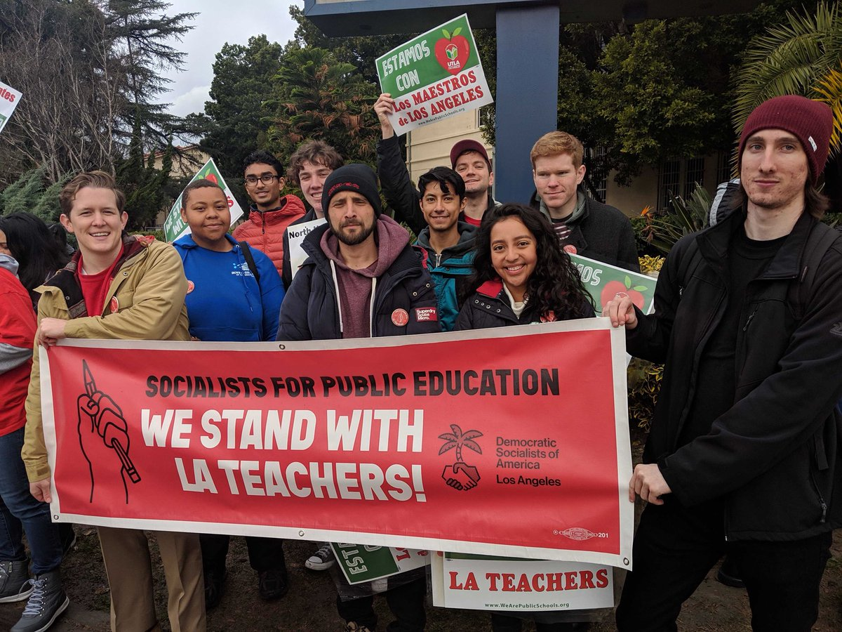Democratic socialists join LA teachers on picket lines to harass 'scabs.' Communist Party announces its support.