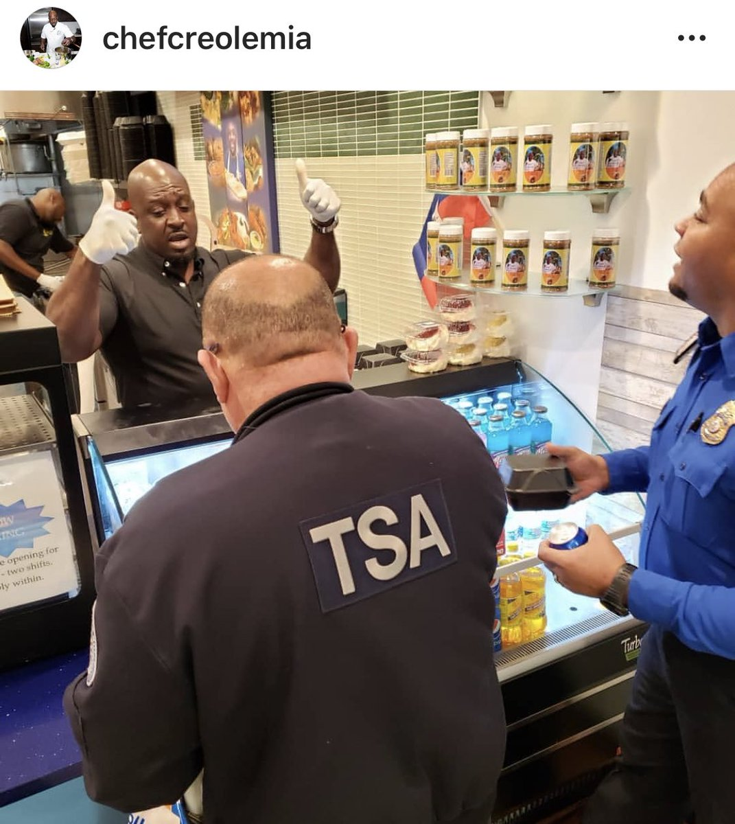 Chef Creole, a Haitian restaurant inside Miami International Airport, gave out hundreds of free meals to TSA workers who aren't getting paid due to the government shutdown  https:// wsvn.com/news/local/mia mis-chef-creole-provides-free-meals-for-tsa-at-mia/ &nbsp; … <br>http://pic.twitter.com/ezPDnZnuNh