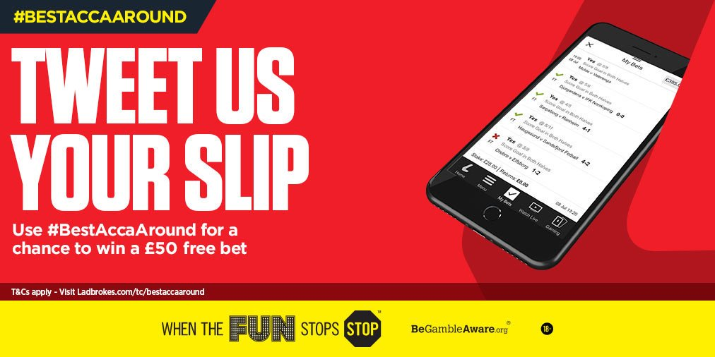 📲 Tweet us a pic of your bet-slip using #BestAccaAround and you could find yourself with a £50 FREE BET!  T&Cs > http://lbrk.es/ROfJ30lFPDT