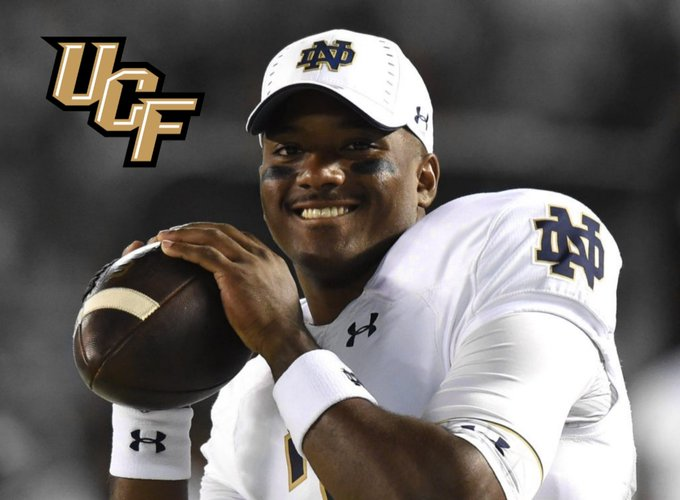 Former Notre Dame starting QB Brandon Wimbush is transferring & joining the UCF 🏈 program as a graduate transfer. Great news for the Golden Knights! Photo