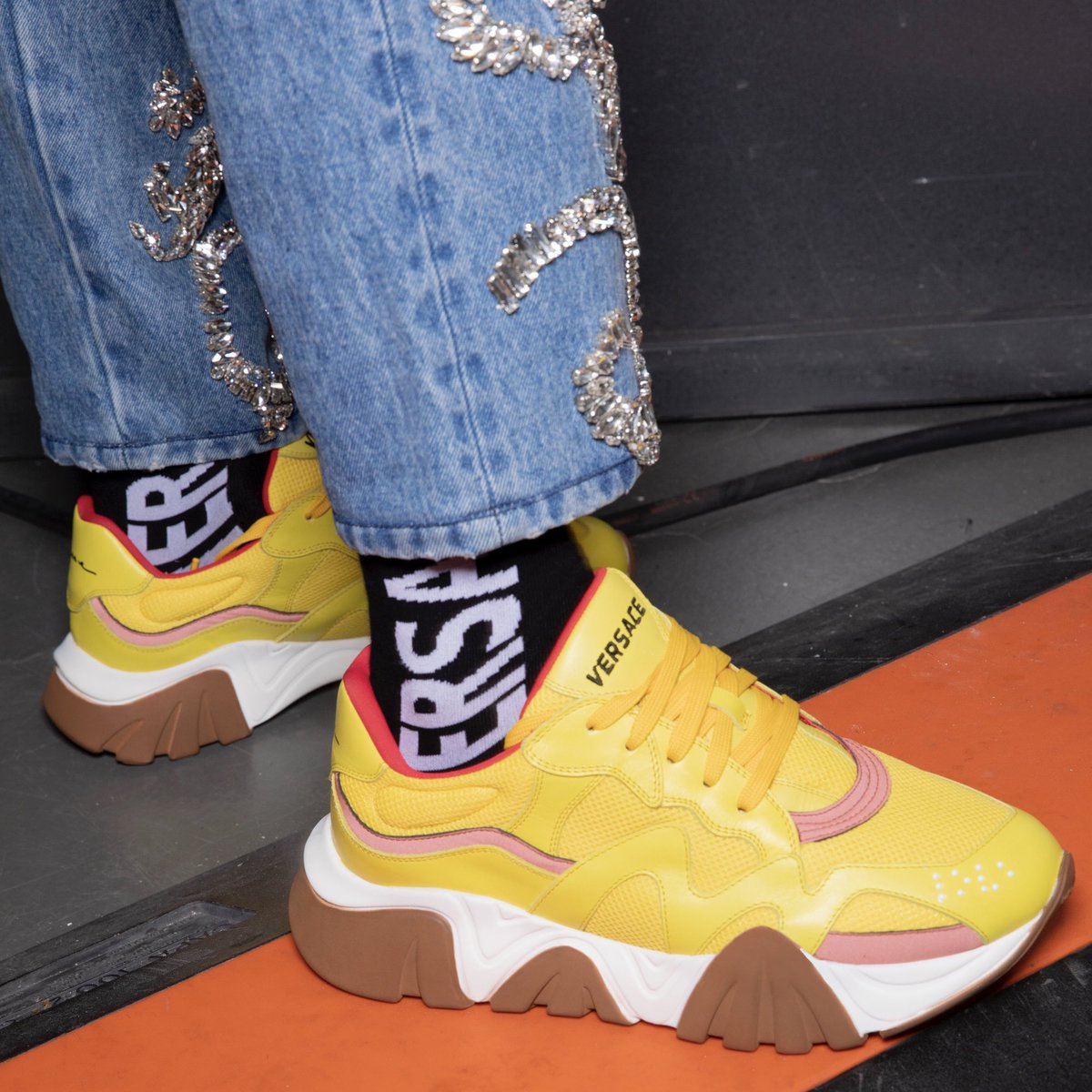 Daring from the feet up - first look at the #VersaceSqualo, the newest Versace sneaker. #VersaceFW19 #MFW