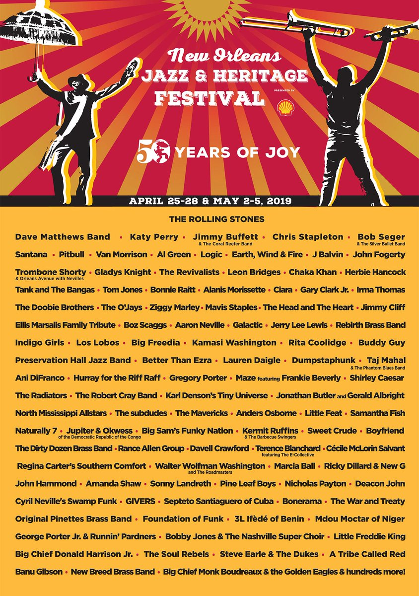 Excited to return back to NOLA this year for @jazzfest on April 27. Visit http://www.nojazzfest.com for tickets #JazzFest50