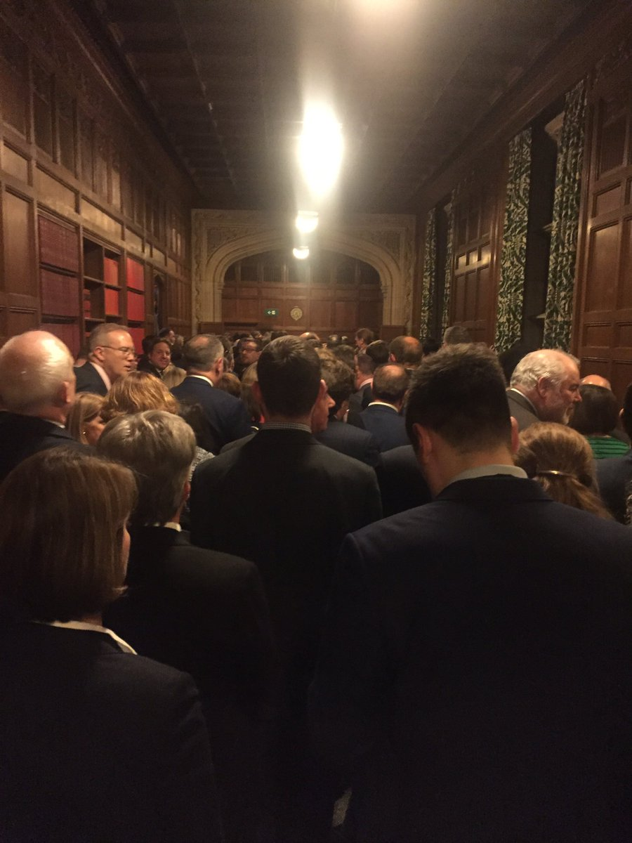 "The ""No"" lobby is mobbed. Think we can safely say the Prime Minister's #Brexit deal is sunk."