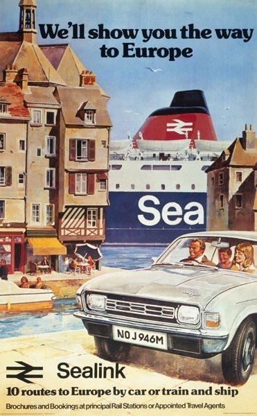 """""""We'll Show You the Way to Europe"""", complete with Austin Allegro. British Rail poster, 1974."""