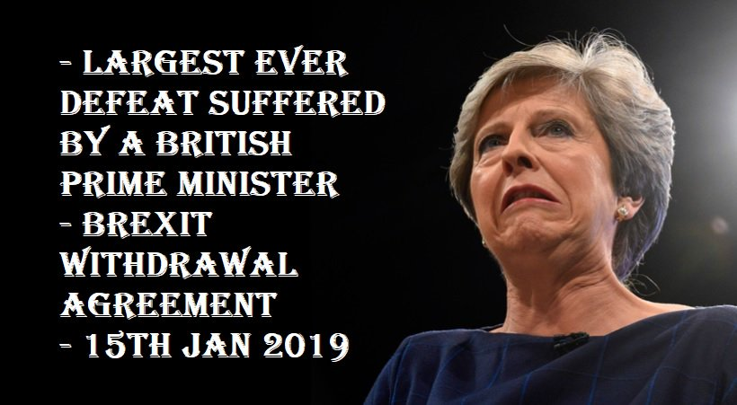 DEFEATED BY 230 VOTES. The largest ever Government defeat in British Parliamentary history. The Tories have failed beyond measure. Time for a General Election. #BrexitVote #GeneralElectionNow <br>http://pic.twitter.com/3jhlK6i5xt