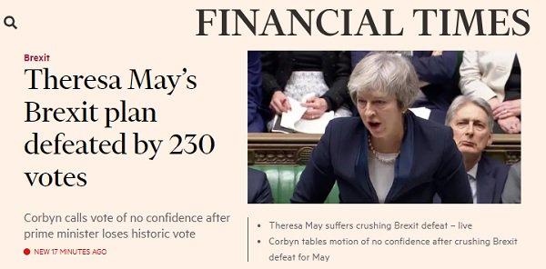 Derrota de May no 'Brexit' é a maior da história do parlamento britânico - https://t.co/AS6Uloajz1