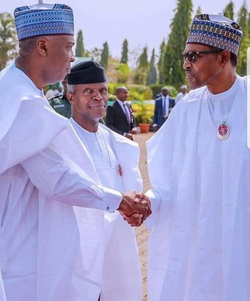 EYEBALLS to EYEBALLS... such strange looks, SARAKI, OSINBAJO and BUHARI in Abuja, earlier today... <br>http://pic.twitter.com/R9yAZqLwgy