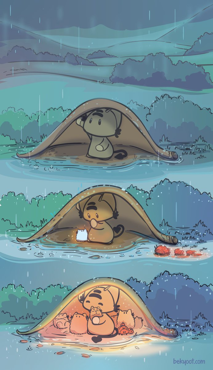 NEW COMIC: 'The Rain' :) <3 I'm liking more 'quiet' comics these days, especially drawing them. It's so relaxing. #webcomic #webcomics #ocmics #comic
