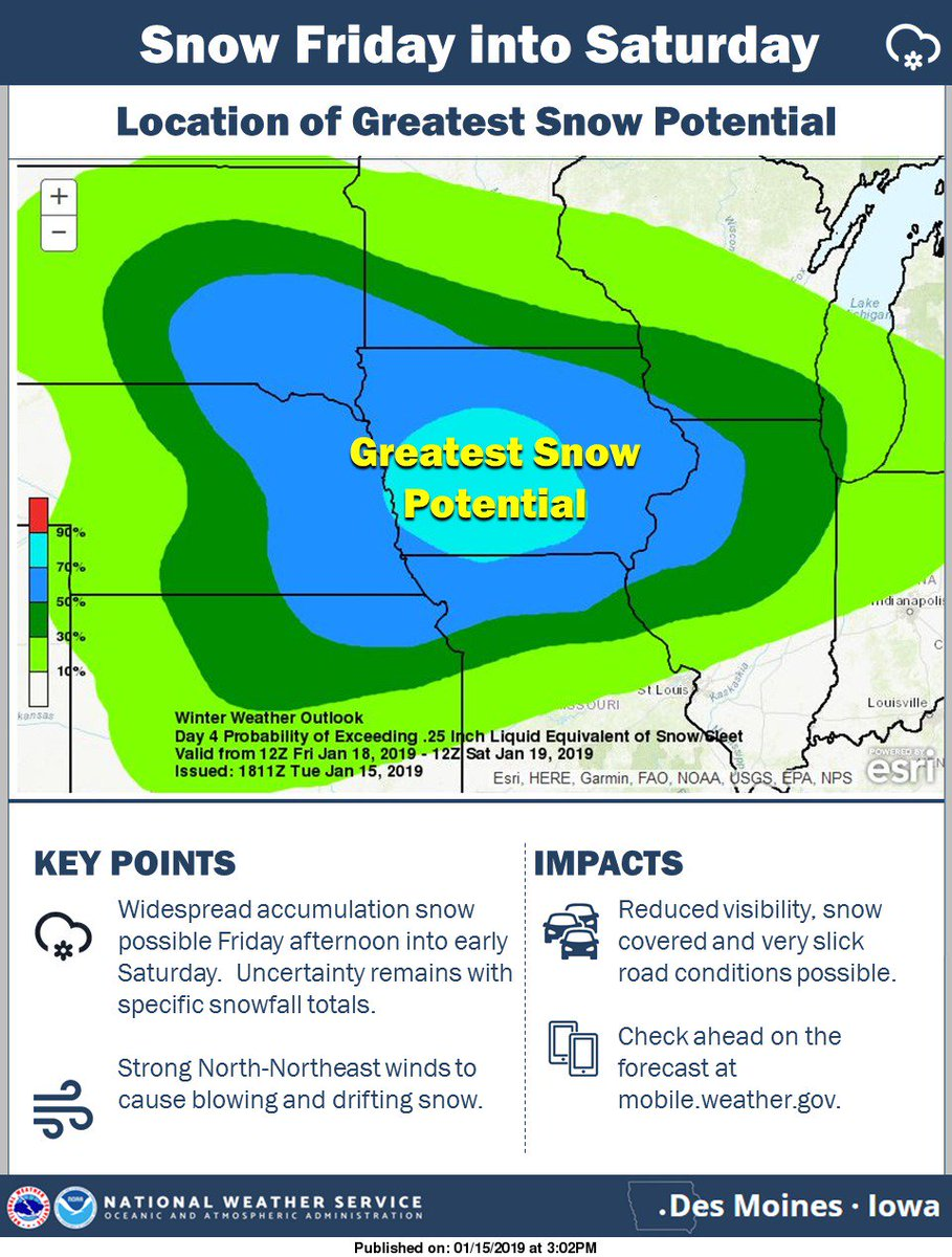 Widespread accumulating snow and wind still on track to arrive Friday afternoon into Saturday! #iawx