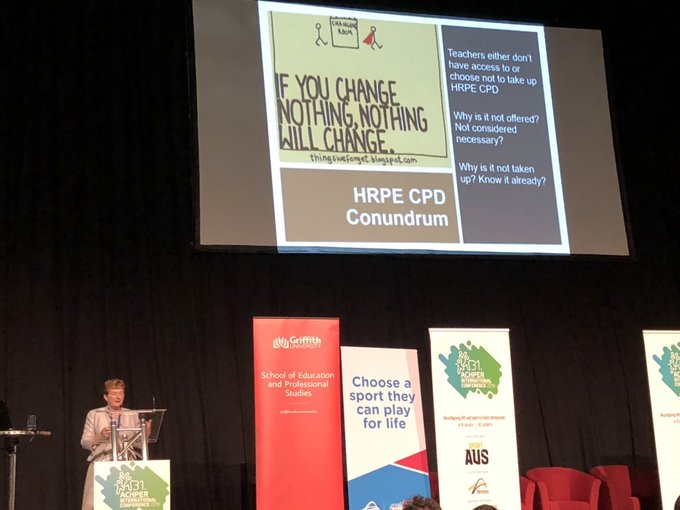 Hey @LauraAlfrey you just got big shout-out from Prof Jo Harris about your work on CPD conundrum during her #achper2019 keynote! Photo
