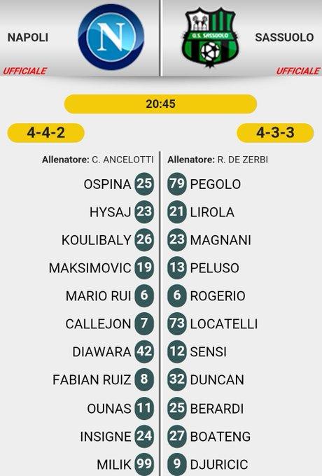 #CoppaItalia Le formazioni ufficiali di #NapoliSassuolo ⬇️⬇️⬇️ Foto