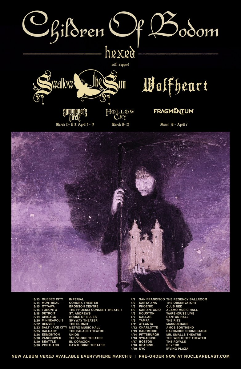 Today we announce the Hexed 2019 North American Tour w/ Swallow The Sun & @WolfheartFIN Tickets go on sale Friday January 18th 10 AM local time See Dates at https://t.co/AWccAwl9jz  We'll offer fans 2 unique VIP packages available starting January 15th at https://t.co/2ALvFhnYMK https://t.co/2RJTBY0M1Q