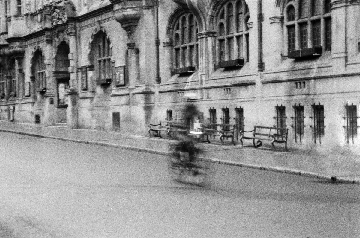 A cyclist in Oxford.  Taken with the Olympus OM-2n and 400ISO black and white film #film #filmcamera #blackandwhite  #Oxford