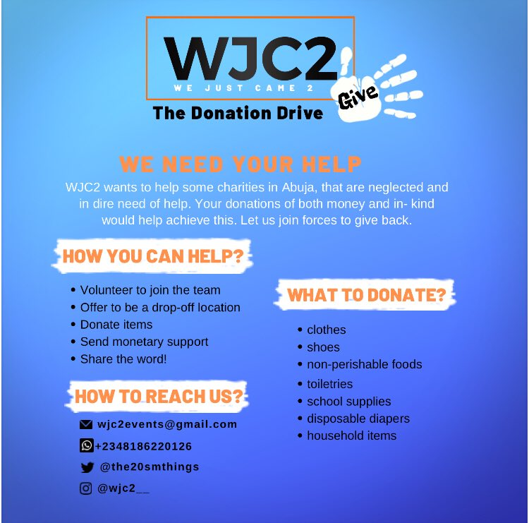 A Donation drive for charities in Abuja