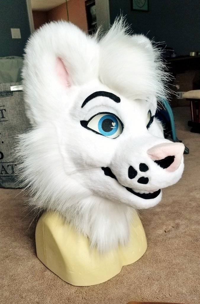 Shes finished! She was a project to teach my new intern some things. They got to do a lot of blunt work and sewing! The species is a  Samoyed named florence #fursuit #furryfandom <br>http://pic.twitter.com/OaJwanlCWA