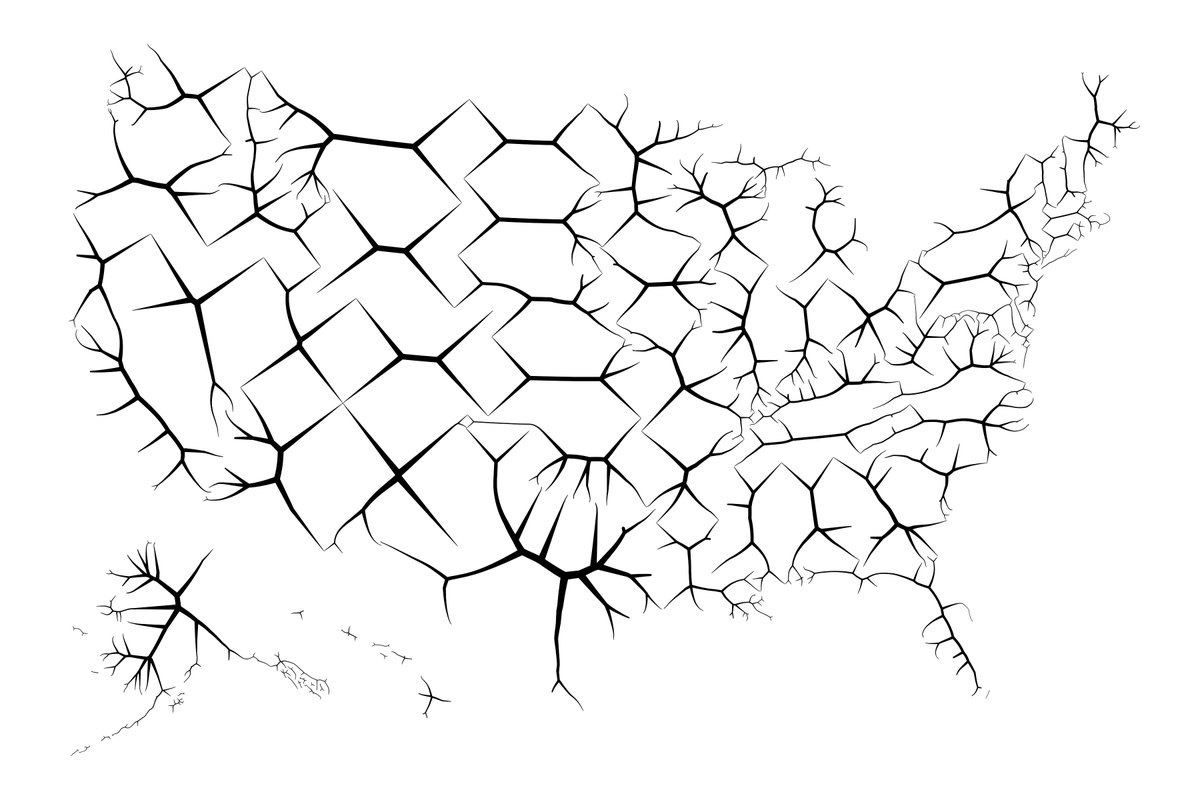 Medial axis of each state.