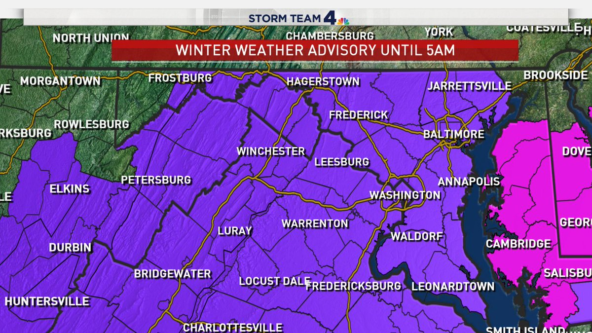 Updates at 11PM on News 4! The National Weather Service has now issued a winter weather advisory ... dropping the winter storm warning. This is for everyone in purple until 5AM. Tracking our biggest snowstorm since the 2016 January blizzard in minutes. <br>http://pic.twitter.com/wLeP04b3J2