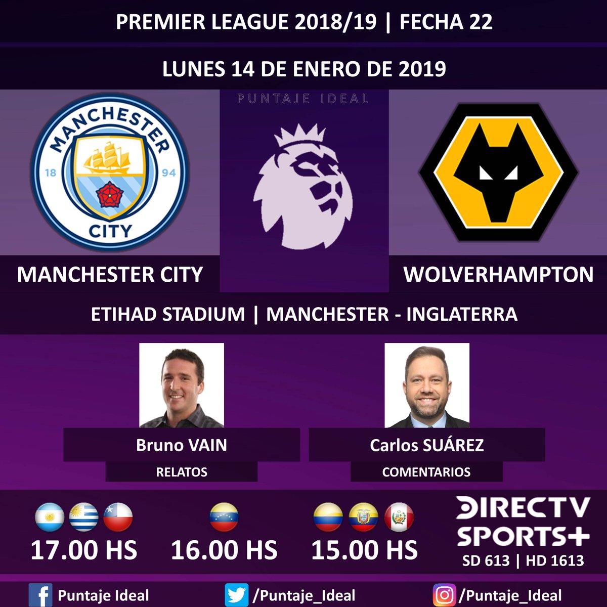 ⚽ #FútbolEnDIRECTV   #ManchesterCity vs. #Wolverhampton 🎙 Relatos: @brunovain  🎙 Comentarios: @CarlitosSuarez  📺 TV: @DIRECTVSports + Sudamérica (613 - 1613 HD)  🤳 #SoySportista - #PremierLeague 🏴 - #MCIWOL  Dale RT 🔃