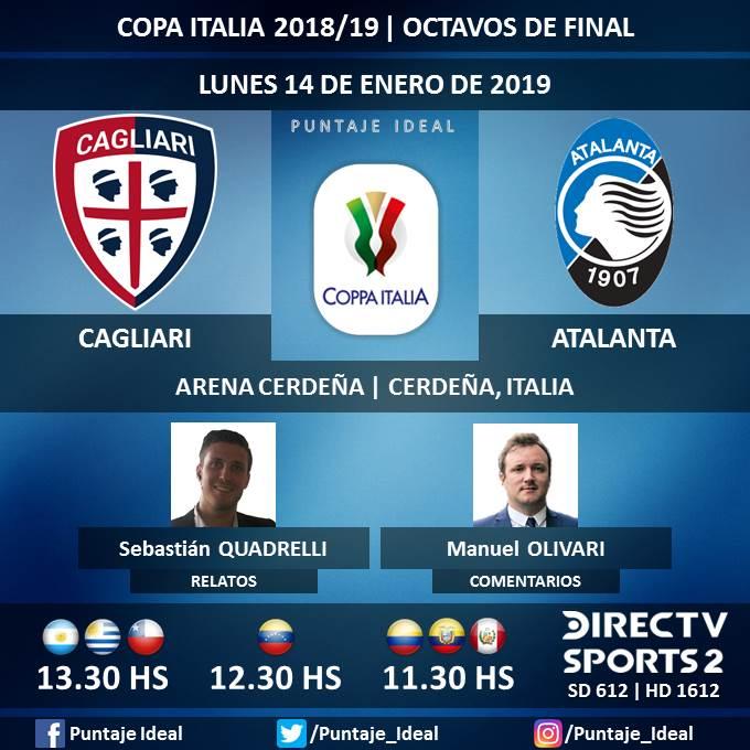 ⚽ #FútbolEnDIRECTV   #Cagliari vs. #Atalanta  🎙 Relatos: @SebaQuadrelli  🎙 Comentarios: @ManuOlivari  📺 TV: @DIRECTVSports 2 Sudamérica (612 - 1612 HD) - #Torneos  🤳 #SoySportista - #CopaItalia 🇮🇹 - #CagliariAtalanta  Dale RT 🔃