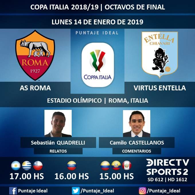 ⚽ #FútbolEnDIRECTV   #ASRoma vs. #VirtusEntella  🎙 Relatos: @SebaQuadrelli  🎙 Comentarios: @CastellanosCami  📺 TV: @DIRECTVSports 2 Sudamérica (612 - 1612 HD) - #Torneos  🤳 #SoySportista - #CopaItalia 🇮🇹 - #RomaEntella  Dale RT 🔃