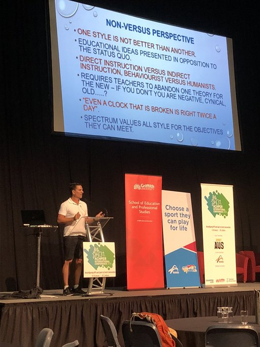 Dr @DrbrendanSues opening the Spectrum and Quality Teaching and Coaching Symposium #ACHPER2019 @ACHPERinc Photo