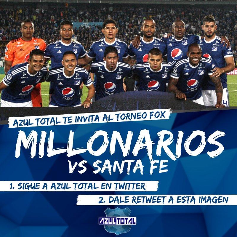 ¡ATENCIÓN!   @Azul_Total te invita al partido entre MILLONARIOS y Santa Fe por el #TorneoFoxSportsCol.  Sólo tienes que seguir a Azul Total y darle RT a esta imagen.  http://AzulTotal.com