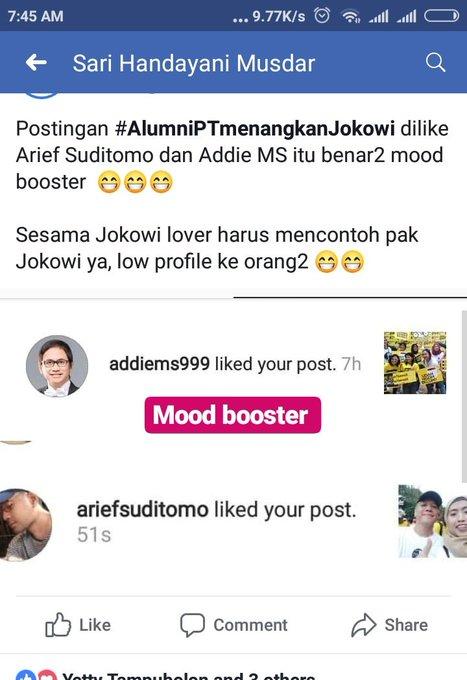 Postingan #AlumniPTMenangkanJokowi disukai mas @addiems Dan Arief Suditomo 😁😁😁 Photo