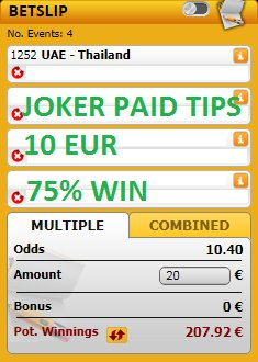 http://jokerpaidtips.blogspot.com                                 We have 4 games with 10 ODD for #TODAY 14/01/2019, all the games are for just 10 EUR  #inplay #YourOdds #RequestABet #bets #tips #betting #InPlaywithRay #PL #EFL #BestAccaAround #PriceItUp #livebet #UCL #UEL #picks #Matchday