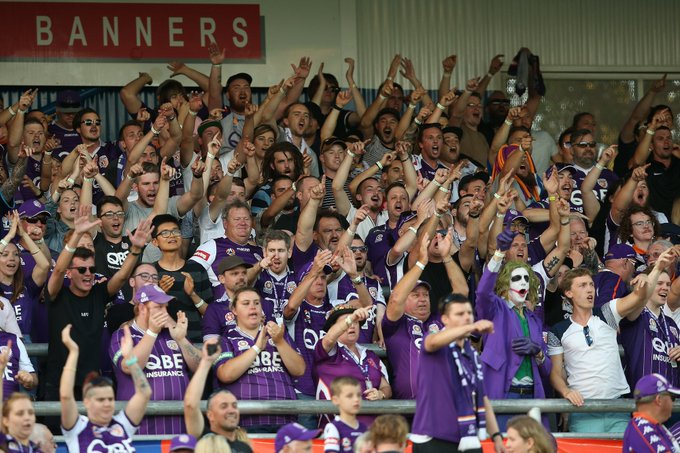 Happy days for these guys and girls. The Shed would have been rocking last night! @Farpostperth 🎉 #PERvWSW #ALeague Photo