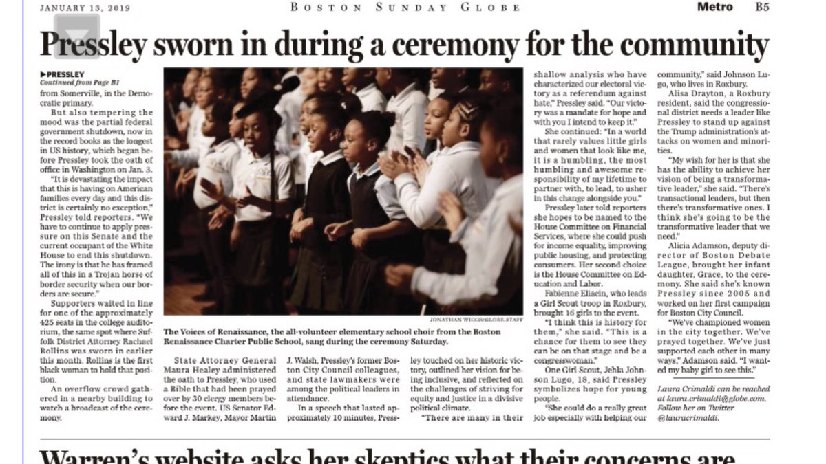 @BRCPS VOICES of RENAISSANCE CHORUS is in the Sunday @BOSTONGLOBE for their performance at this weekend's swearing in ceremony for Congresswoman @AyannaPressley  at @RoxburyCommunityCollege @RepPressley   http://www.BostonRenaissance.org