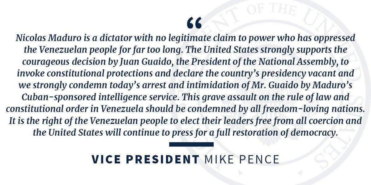 Vice President Mike Pence's photo on Juan Guaidó