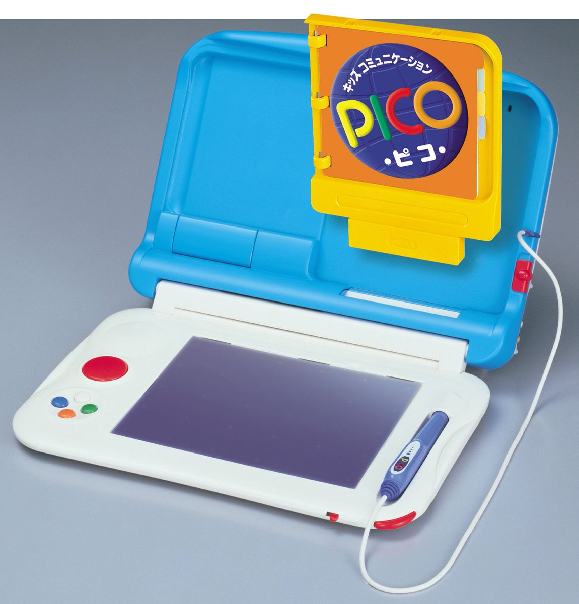 #成人の日  新成人のみなさんが子供の頃遊んだ「キッズコミュニケーション・ピコ」はセガより1993年に発売された電子知育玩具「キッズコンピュータ・PICO」の後継機。  テレビ画面と絵本が連動しお絵かきしたり、ひらがなを覚えたりして大きくなった人も多いのではないでしょうか?